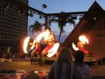 rooftop luau fire spinners